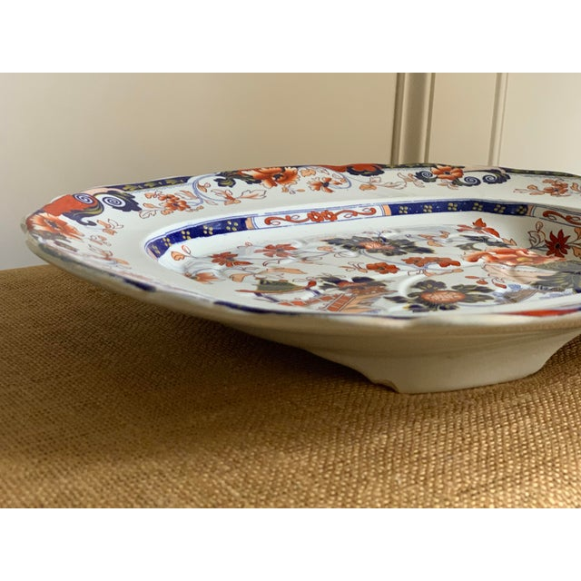 Asian Mid-19th C. Minton Amherst Japan Stone China Imari Style Meat Platter For Sale - Image 3 of 11