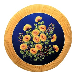 1970s Hollywood Regency Embroidered Pleated Round Floral Pillow For Sale