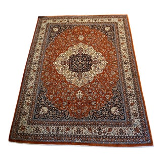 9' X 12' Antique Wool Persian Heriz Rug With Center Medallion For Sale
