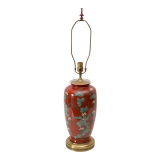 Chinoiserie Red Lotus Water Lily Lamp