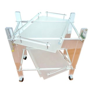 Mid Century Modern Modernist Lucite Bar Cart With Removable Trays For Sale