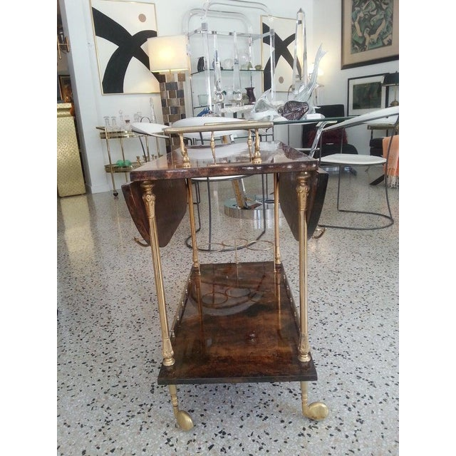 Metal Mid-Century Modern Bar Cart in Lacquered Goatskin and Gold Plate by Aldo Tura For Sale - Image 7 of 13