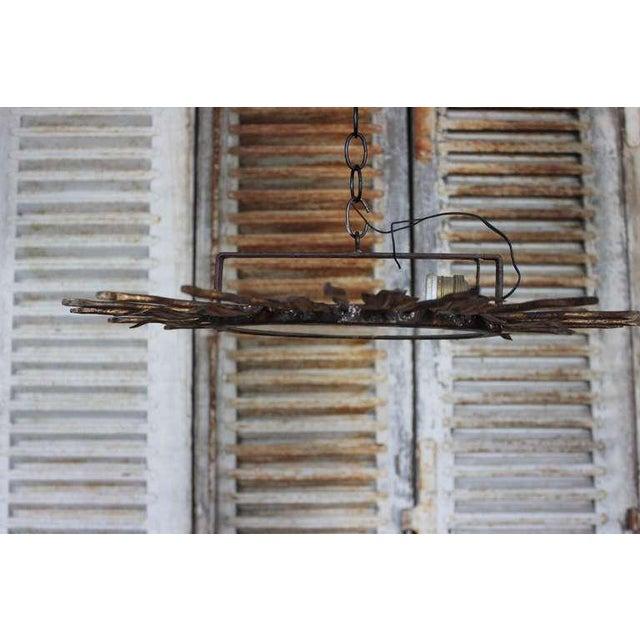 Spanish Gilt Metal Sunburst Flush Mount Ceiling Fixture - Image 6 of 8