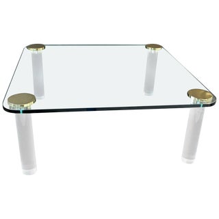 Mid-Century Modern Brass Glass Square Lucite Coffee Table
