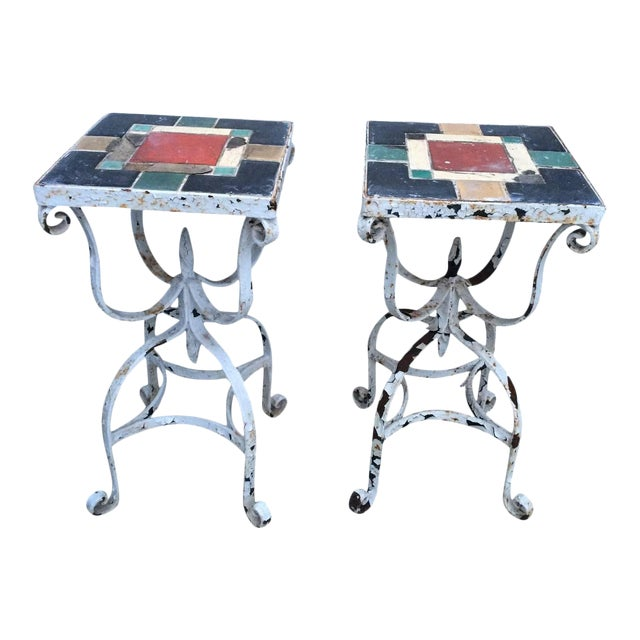 Vintage Iron Tile Top Tables - a Pair For Sale