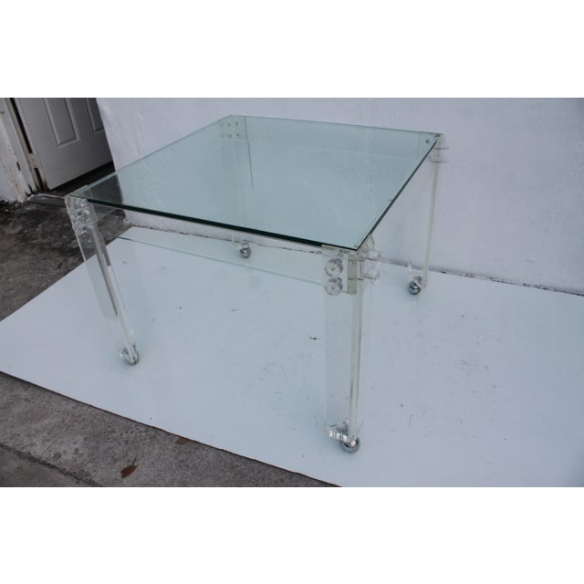 Square Lucite Dining Table Base - Image 7 of 8