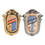 Image of Pair of Early 20th Century French Carved Painted Wall Hanging Shields With Crest For Sale