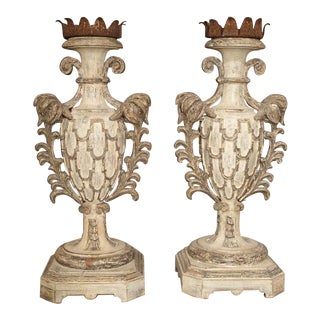 Large Carved and Polychrome Candlesticks From Italy - a Pair For Sale