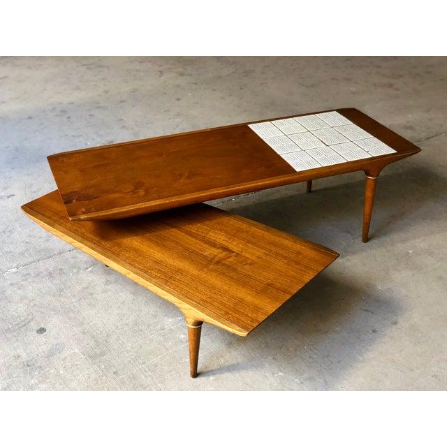 Lane Switchblade Coffee Table: Mid Century Modern Lane Switchblade Boomerang Tile Top