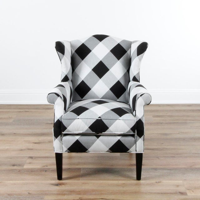 2010s Black and White Check Bradford Armchair For Sale - Image 5 of 5