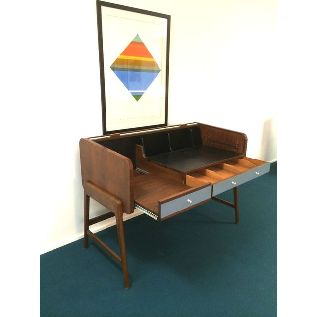 Mid-Century Sligh Lowry Walnut Roll Top Desk For Sale - Image 7 of 7