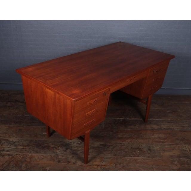 Danish Mid Century Modern Teak Desk For Sale - Image 9 of 13