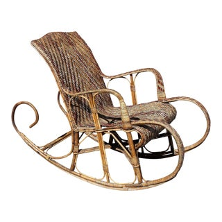 Very Large French Art Deco Rocking Chair Exotic Wood Circa 1940s For Sale