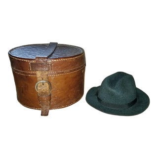 Vintage Salesman Sample Hat & Leather Box Trinket For Sale