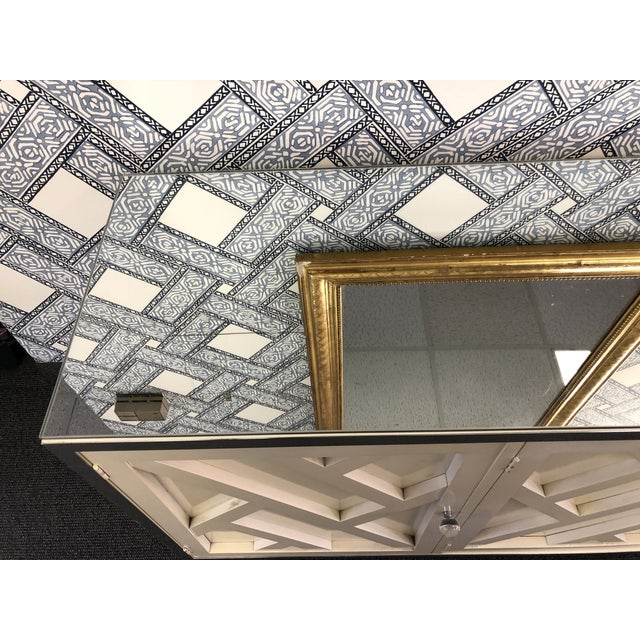 Vintage Fretwork Cream Wood Credenza With Mirror Top For Sale In Washington DC - Image 6 of 8