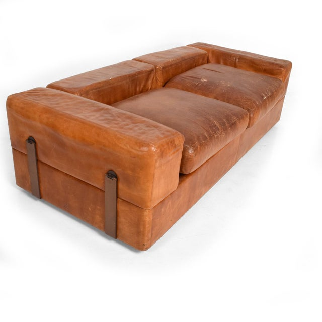Mid Century Modern Italian Leather Sofa Bed For Sale - Image 11 of 11