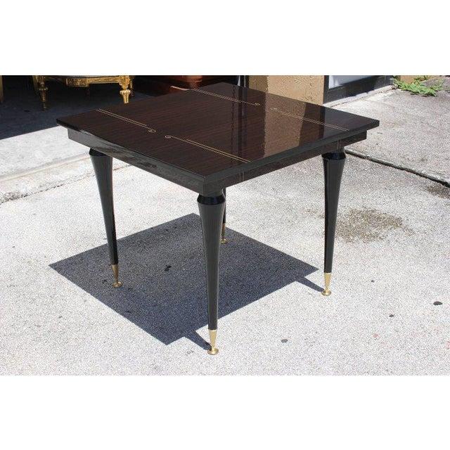 Art Deco 1940s Art Deco Exotic Macassar Ebony Square Center Table For Sale - Image 3 of 11