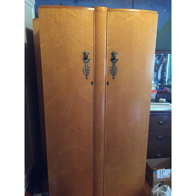 Art Deco Birds Eye Maple Art Deco Wardrobes - a Pair For Sale - Image 3 of 13