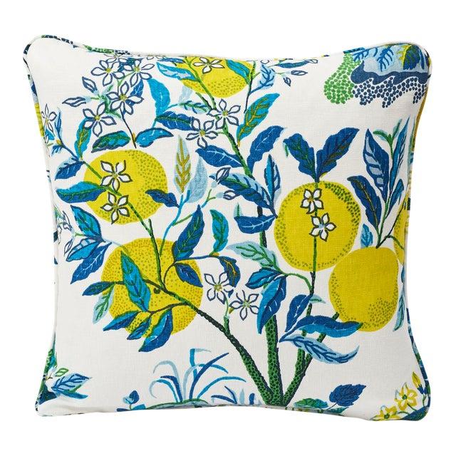 Schumacher Double-Sided Pillow in Citrus Garden Pool Blue Linen Print For Sale