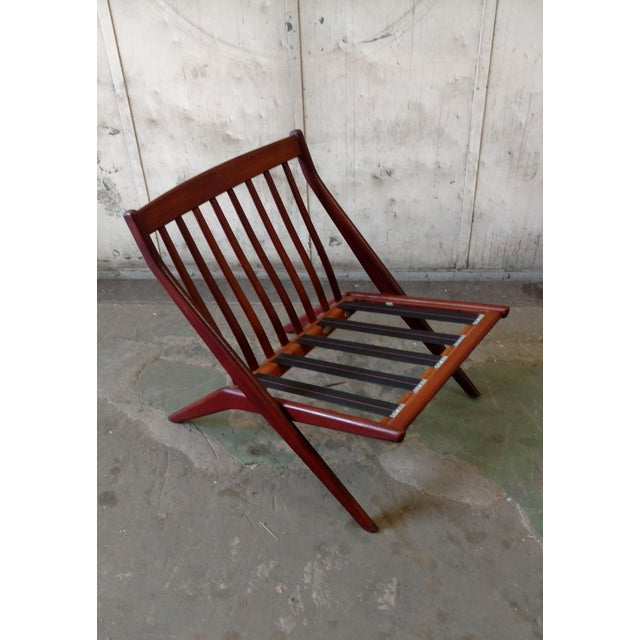 DUX Teak Scissor Chair With Space Age Fabric by Folke Ohlsson for DUX For Sale - Image 4 of 11