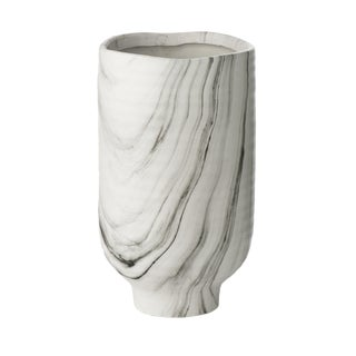 Fumé Black/White Marbleized Vase For Sale