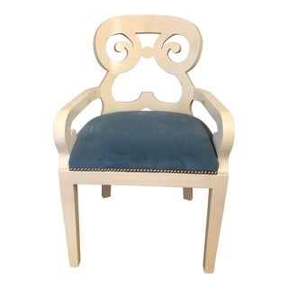 1980s Vintage White Shabby Chic Arm Chair For Sale