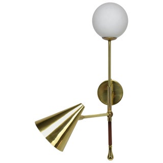 Ancora-IX Contemporary Brass Articulating Double Wall Light, Flow Collection For Sale