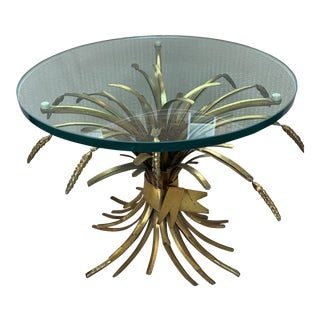 Vintage French Provincial Wheat Sheaf Glass Side Table For Sale