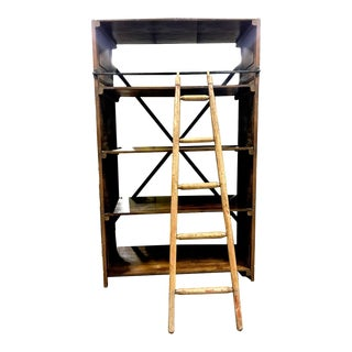 Vintage Storage Unit with Ladder For Sale