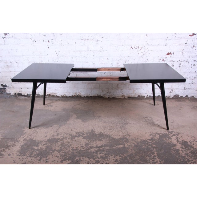 1950s Paul McCobb for Planner Group Ebonized Extension Dining Table & Chairs - Set of 6 For Sale - Image 9 of 13