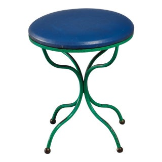 Rare Turquoise and Blue Tony Paul Stool with Brass Ball Feet For Sale