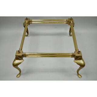 Vintage Brass Queen Anne Square Coffee Table Base Attr Mastercraft Hollywood Regency Preview