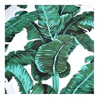 Green & White Banana Leaf Cotton Fabric