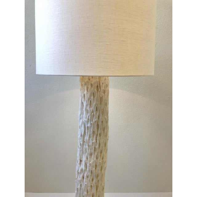 Metal 1980s White Plaster and Brass Saguaro Floor Lamp For Sale - Image 7 of 11