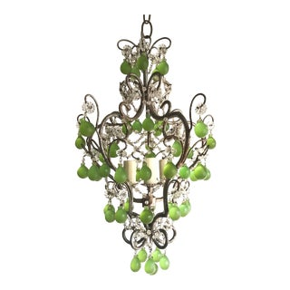 1960s Vintage Italian Chandelier With Chartreuse Murano Drops For Sale