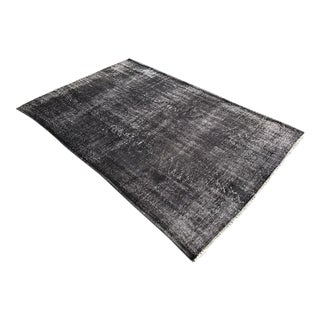 "1960s Turkish Dark Gray Handmade Anatolian Vintage Overdyed Rug - 72"" x 112"""