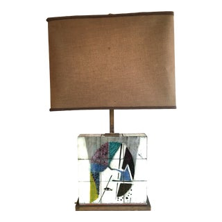 Mid-Century Picasso Style Ceramic Hand Painted Tiled Table Lamp With Brass Base and Porcelain Sockets For Sale