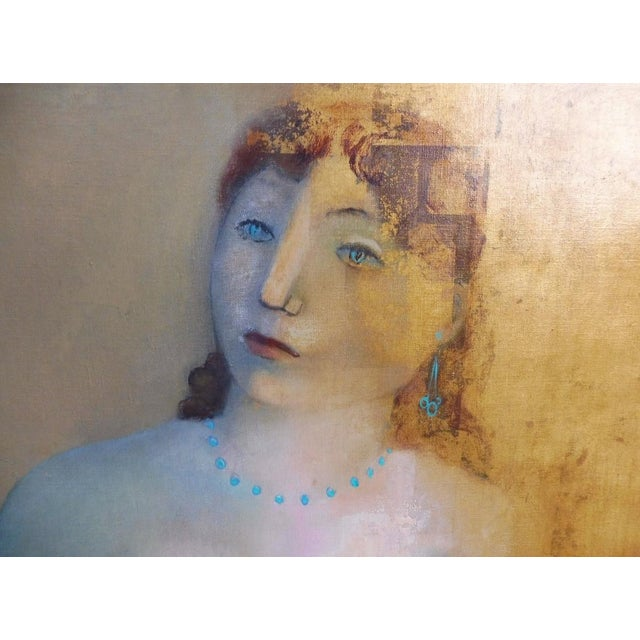 Art Deco Large Painting by Provincetown Painter Remo Michael Farrugio of His 3rd Wife Well Listed For Sale - Image 3 of 10