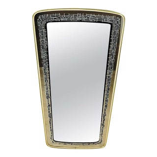 Italian Brass Framed Asymmetrical Wall Mirror, 1960s, Italy For Sale