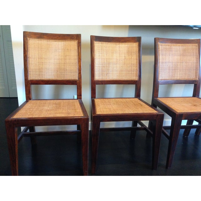Crate & Barrel Cane Dining Chairs - Set of 4 - Image 3 of 9