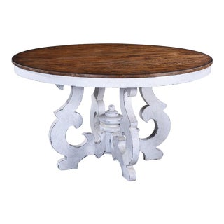 Dining Table Cambridge Round Wood Antique White For Sale