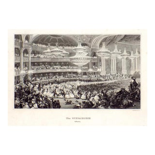 """""""The Opera House in Paris"""" 1855 Engraving For Sale"""