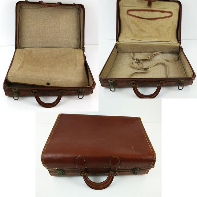 Vintage Brown Leather Suitcase - Image 3 of 6