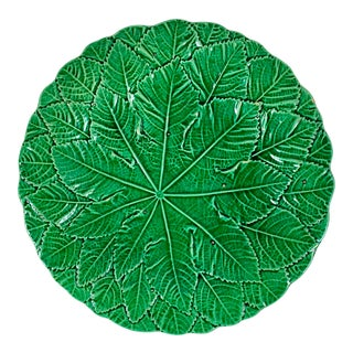 English Majolica Green Glazed Overlapping Leaf Plate For Sale