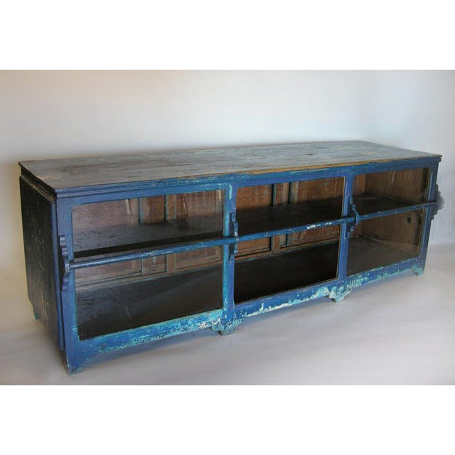 Americana Antique Painted Blue Shop Counter With Glass Front For Merchandise Display For Sale - Image 3 of 11