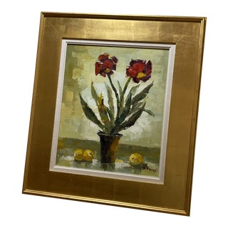 Floral Oil Painting of Red Flowers With Lemons, Framed For Sale