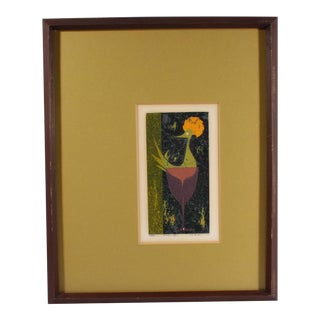 Hiroshi Kabe 1970 Signed Limited Edition Serigraph of a Bird For Sale