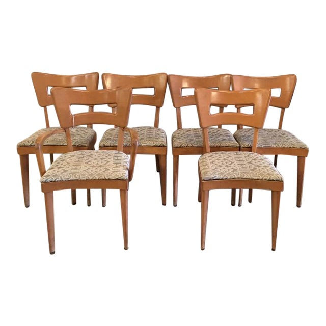 """Heywood Wakefield Set of Six """"Dog Biscuit"""" Dining Chairs For Sale"""