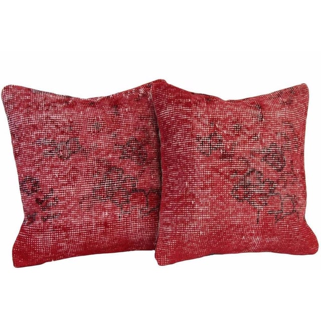 Red Handmade Overdyed Pillow Covers - Pair - Image 1 of 4