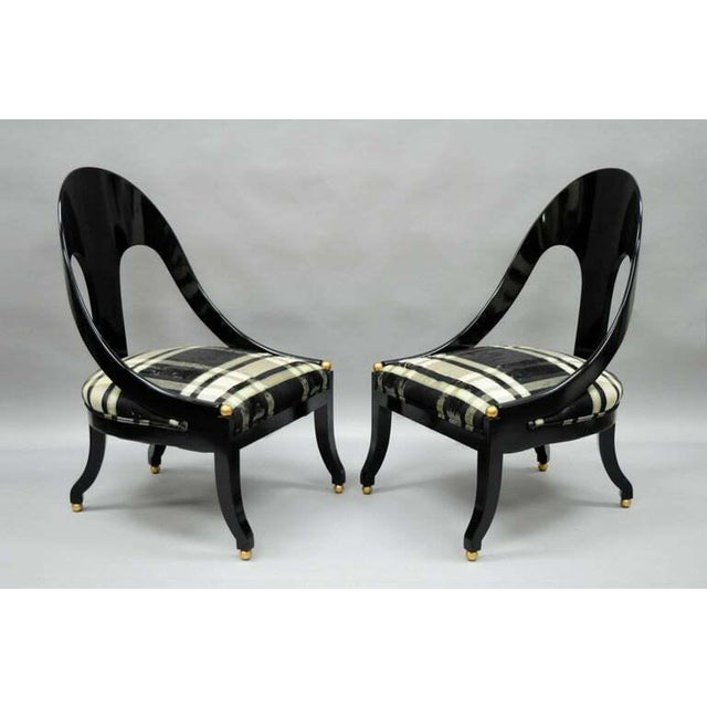 1960s Vintage Michael Taylor Baker Black Lacquer & Gold Spoon Back Slipper Lounge Chairs- A Pair For Sale - Image 9 of 10